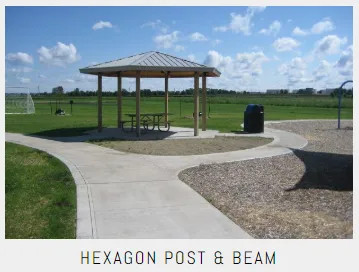 Commercial Hexagon Post And beam Shelters