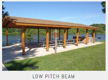Commercial Low Pitch Beam Shelters