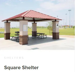 Commercial Square shelter for playgrounds